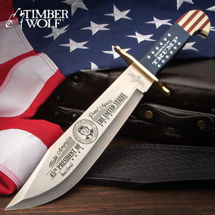 Timber Wolf Limited Edition Trump Bowie Knife And Sheath - Stainless Steel Blade, Wooden Handle Scales, Brass Guard - Length 16""