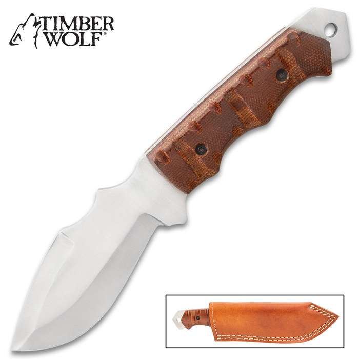 Timber Wolf Burlap Bush Knife With Sheath - Stainless Steel Blade, Burlap Handle, Extended Tang, Lanyard Hole - Length 9""