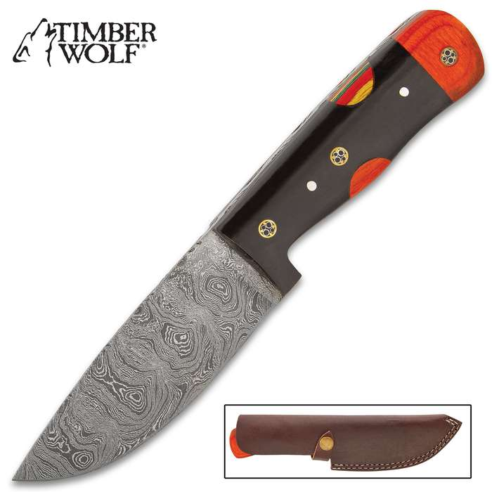"""Timber Wolf Bison Hunter Knife With Sheath - Damascus Steel Blade, Buffalo Horn And Pakkawood Handle Scales - Length 9 1/2"""""""