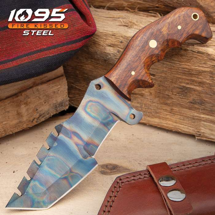 Timber Wolf Trial By Fire Tracker Knife And Sheath - 1095 Fire Kissed Carbon Steel Blade, Hardwood Handle, Brass Pins - Length 9 1/2""