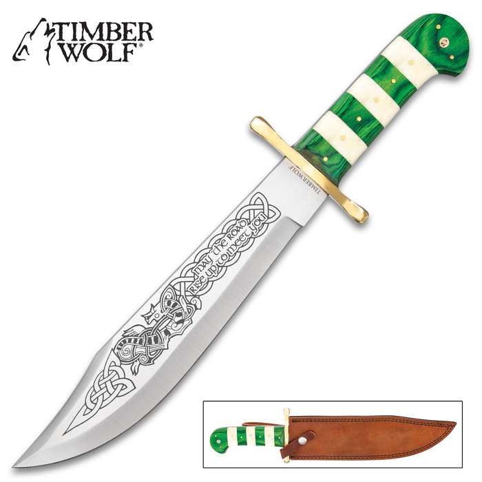 """Timber Wolf Celtic Bowie Knife And Sheath - Stainless Steel Blade, Printed Artwork, Bone And Wood Handle Scales - Length 16"""""""