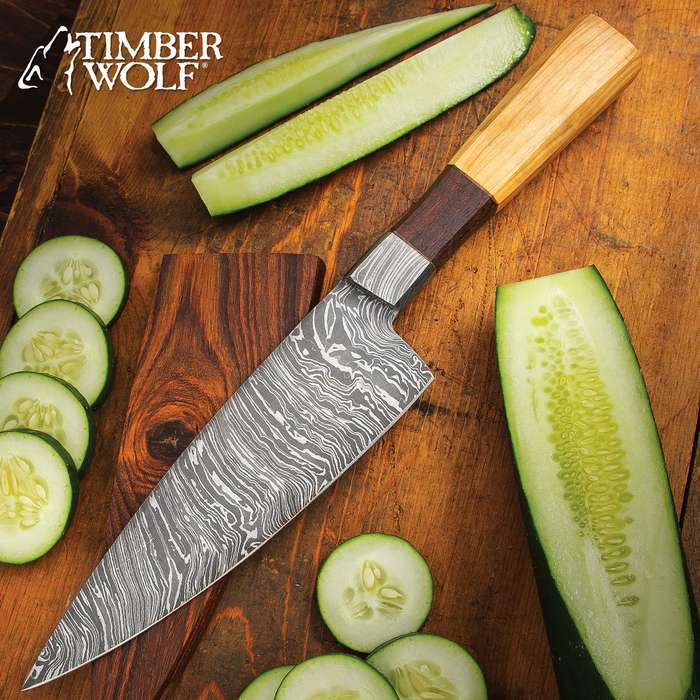 Timber Wolf Chef's Knife With Wooden Sheath - Fire Pattern Damascus Steel Blade, Rosewood And Oil Wood Handle - Length 13""
