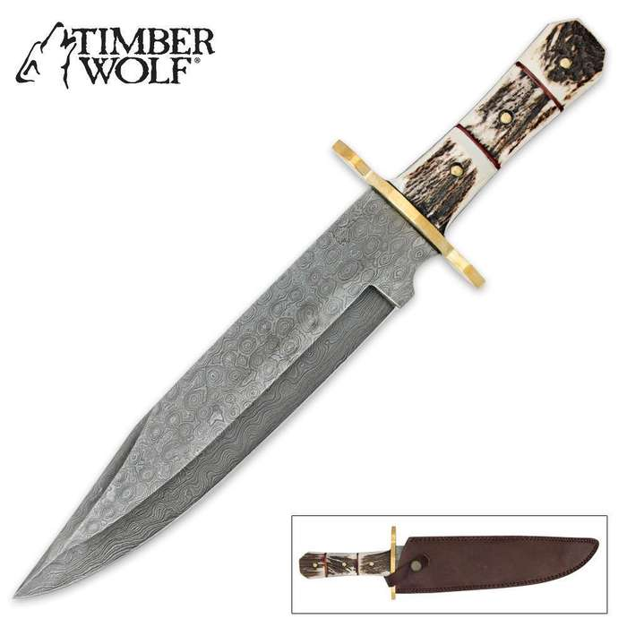 Damascus Knife Bowie Genuine Stag Handle