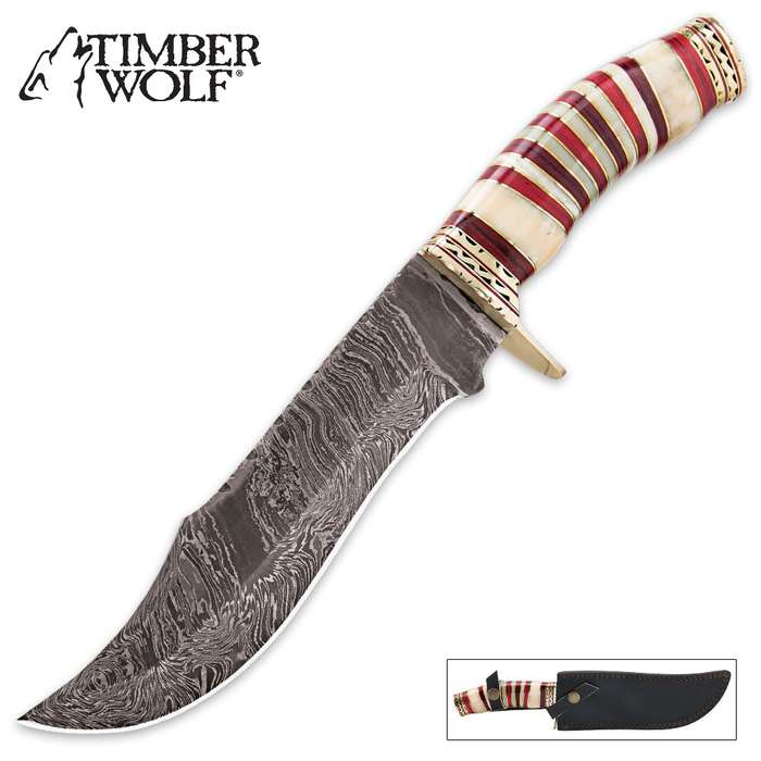 Timber Wolf Crimson Sands Damascus Bowie Genuine Bone Fixed Blade Knife
