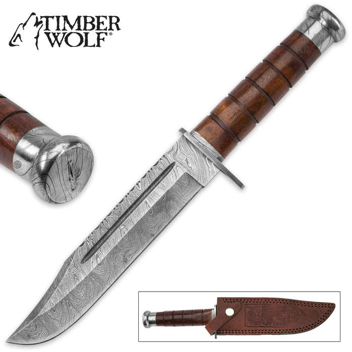 Timber Wolf Primitive Hunter Damascus Fixed Blade Knife with Leather Sheath