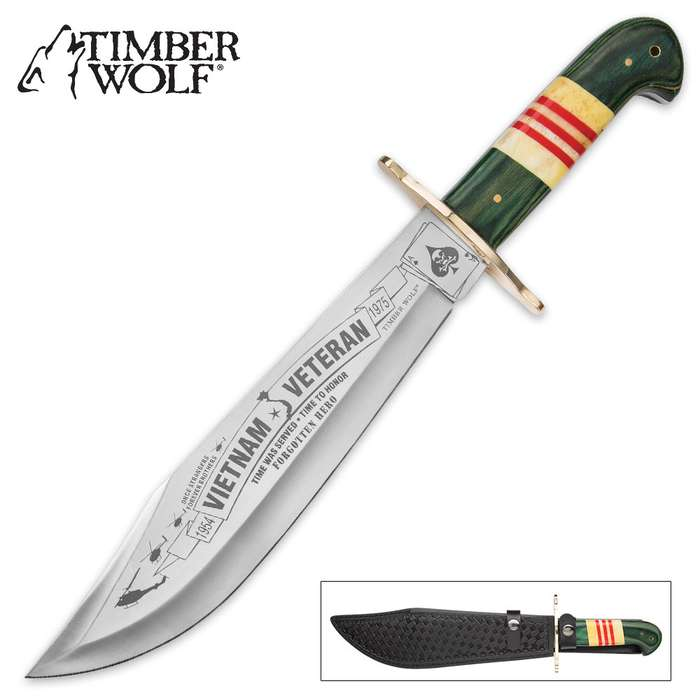 Timber Wolf Vietnam Veteran Limited Edition Bowie Knife with Genuine Leather Sheath