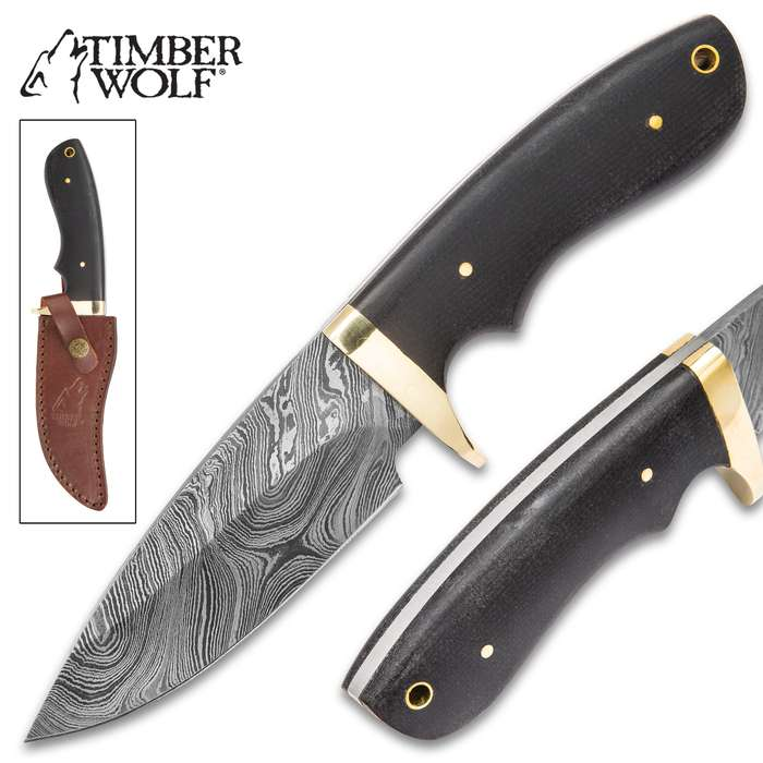 Timber Wolf Bear River Damascus Skinner Fixed Blade Knife with Leather Sheath