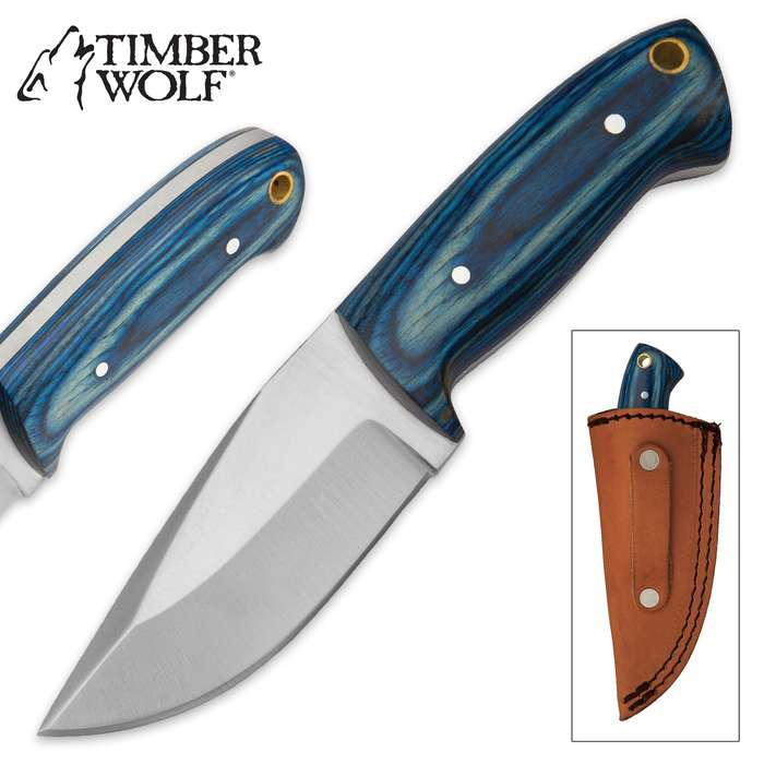 Timber Wolf Blue Judah Skinner Knife with Leather Sheath