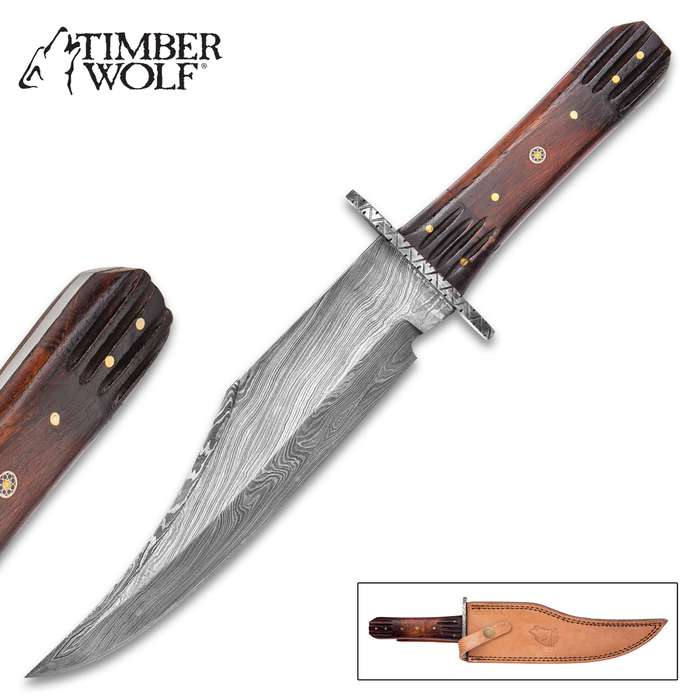Timber Wolf Tobacco Road Bowie / Fixed Blade Knife - Hand Forged Damascus Steel, Tobacco Burst Heartwood - Full Tang - Tri Circle Mosaic - Embossed Genuine Leather Sheath - 13 3/4""