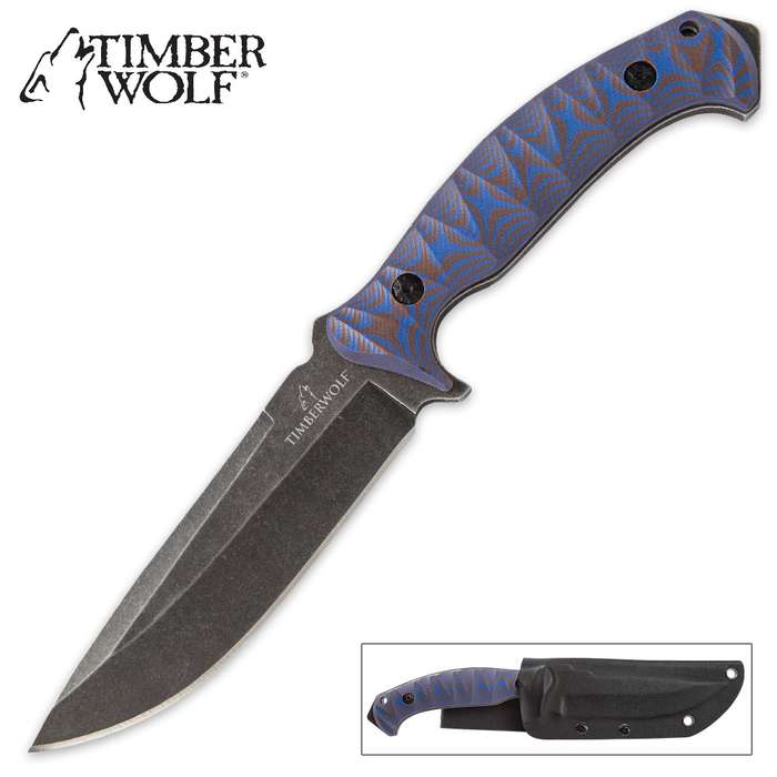 Timber Wolf Blue Wave Fixed Blade Knife - Large