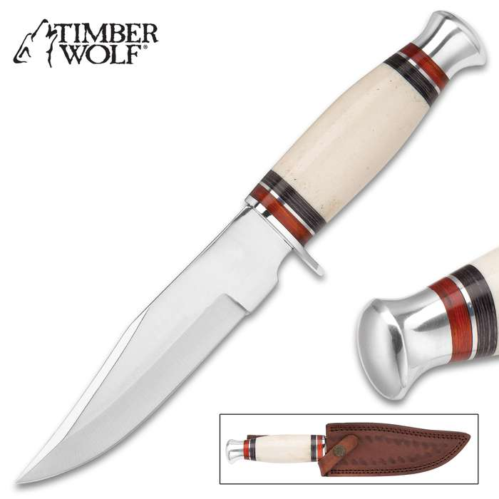 Timber Wolf Appalachian Ivory Bowie / Fixed Blade Knife - Stainless Steel - Natural Genuine Bone - Red, Black Pakkawood - Genuine Leather Sheath - Outdoors Display Hunting Camping Collecting - 9 3/4""