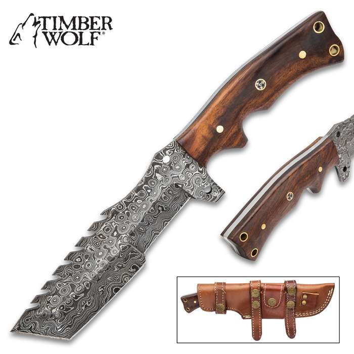 Timber Wolf Croc-Back Survival Knife With Sheath - Damascus Steel Blade, Sawback, Wooden Handle, Lashing Holes - Length 10""