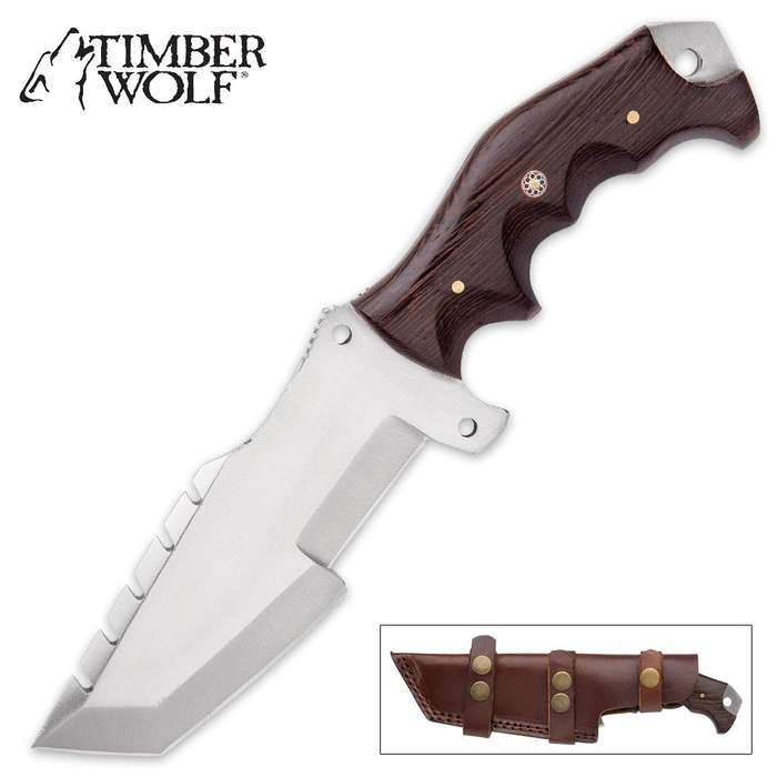 Timber Wolf Big Game Tracker Fixed Blade Knife - D2 Tool Steel Blade, Walnut Wood Handle, Sawback, Length 9 1/2""