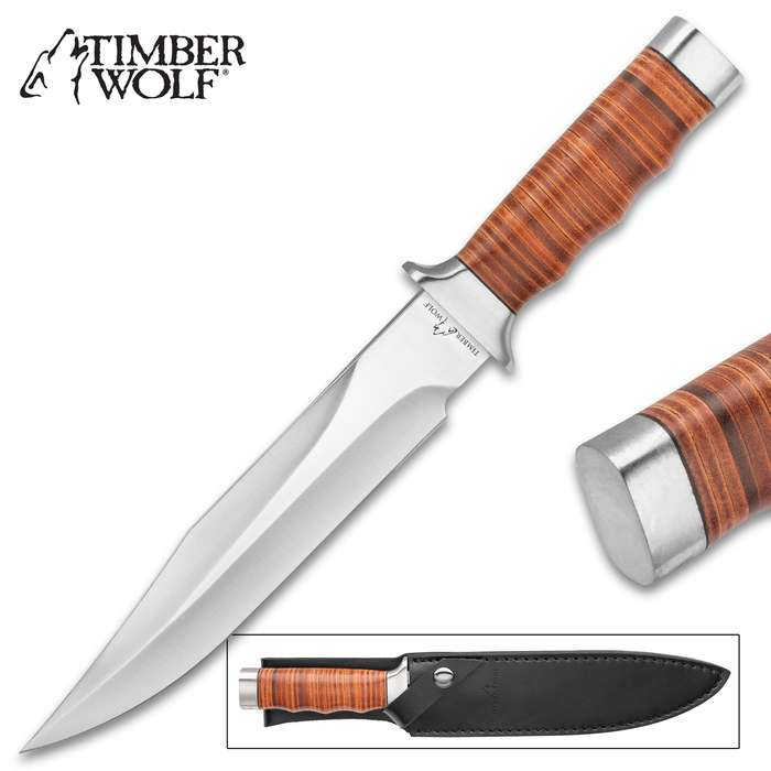 Timber Wolf Leather Work Bowie Knife And Sheath - Stainless Steel Blade, Leather-Wrapped Handle, Polished Steel Guard And Pommel - Length 13""