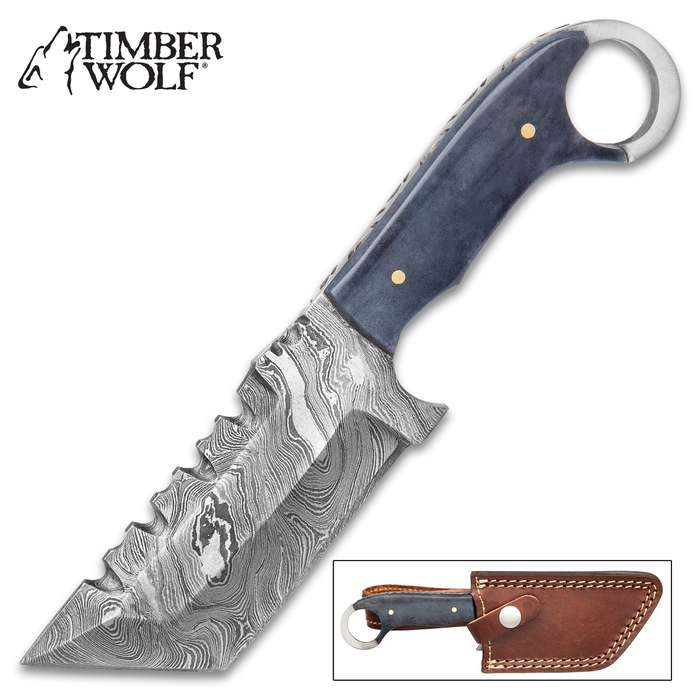 """Timber Wolf SawShark Knife With Sheath - Damascus Steel Blade, Grey Bone Handle Scales, Open Ring Pommel, Brass Pins - Length 7 1/2"""""""
