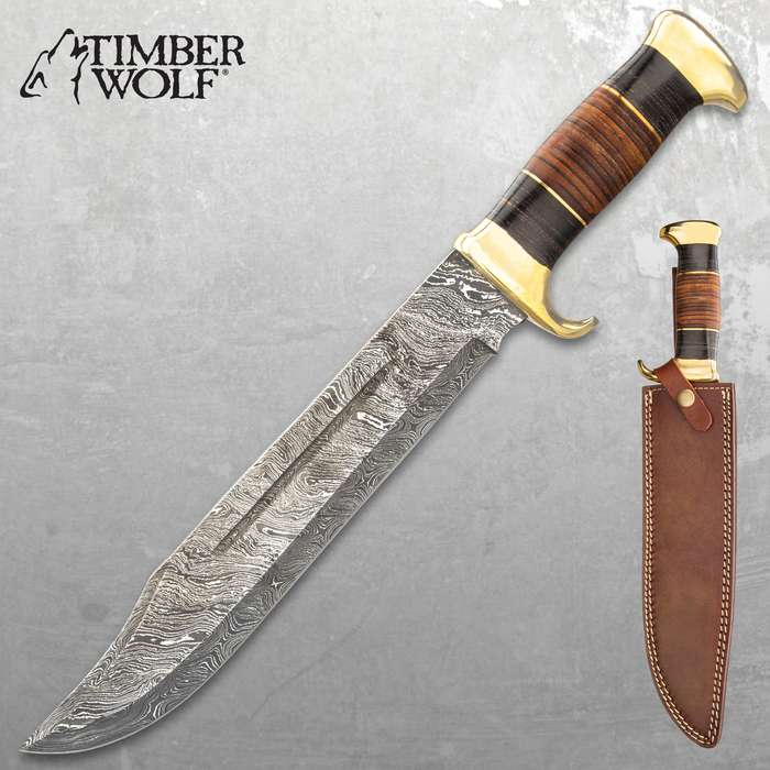Timber Wolf Tanis Tomb Knife With Sheath - Damascus Steel Blade, Banded Wood Handle, Brass Pommel And Handguard - Length 16""