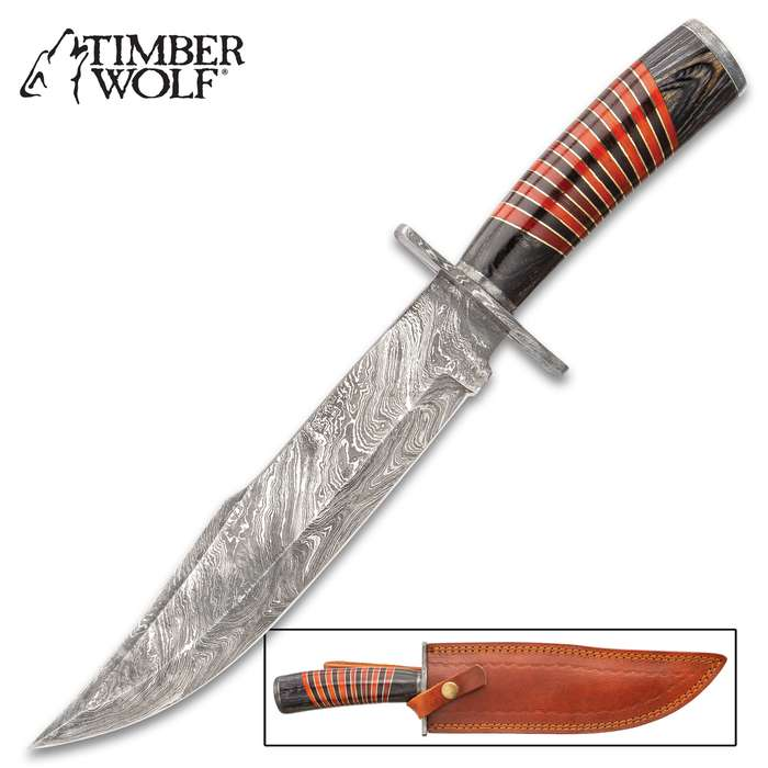 """Timber Wolf Red River Knife With Sheath - Damascus Steel Blade, Fileworked Spine, Banded Wooden Handle, Brass Spacers - Length 14"""""""