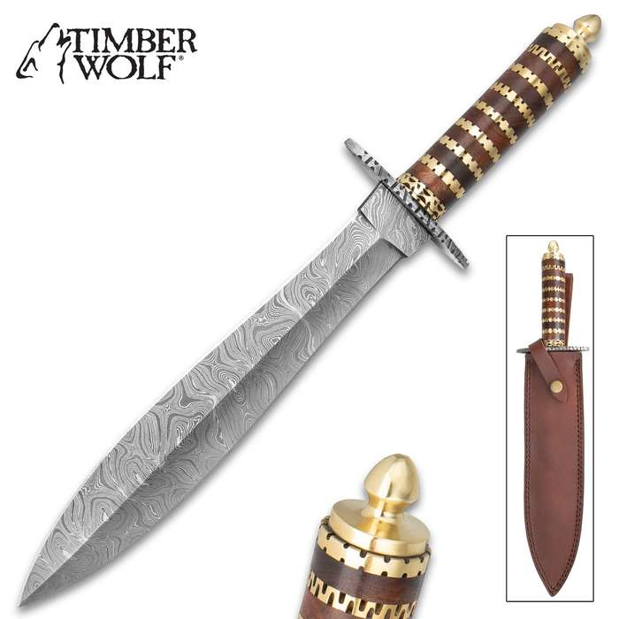 """Timber Wolf Mongol Dagger With Sheath - Damascus Steel Blade, Wooden And Fileworked Brass Handle - Length 16"""""""