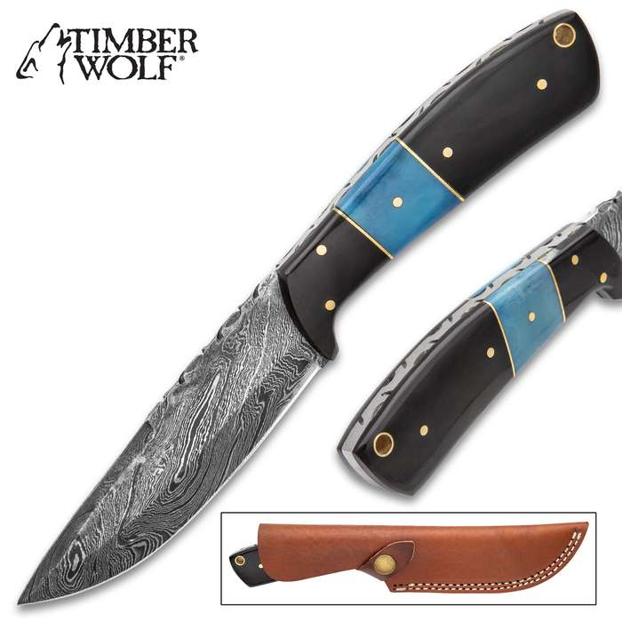 """Timber Wolf Water Buffalo Fixed Blade Knife With Sheath - Damascus Steel Blade, Fileworked Spine, Buffalo Bone Handle Scales - Length 9"""""""