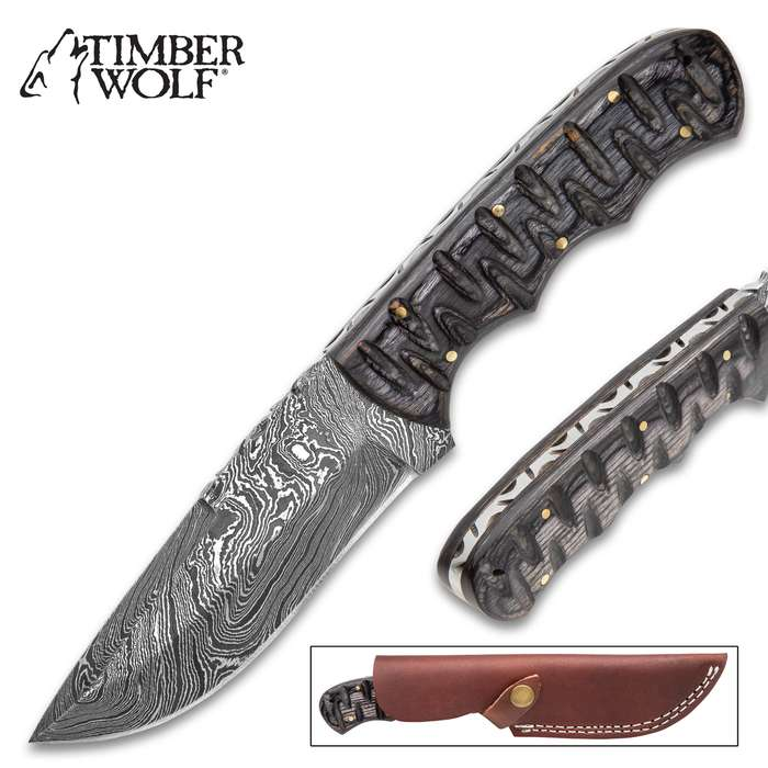 Timber Wolf Black Hills Fixed Blade Knife With Sheath - Damascus Steel Blade, Fileworked Spine, Pakkawood Handle Scales - Length 9""
