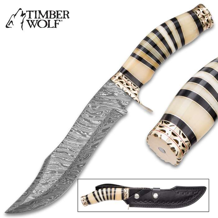 Timber Wolf Midnight Winds Damascus Bowie Knife - Genuine Bone Handle Fixed Blade Knife