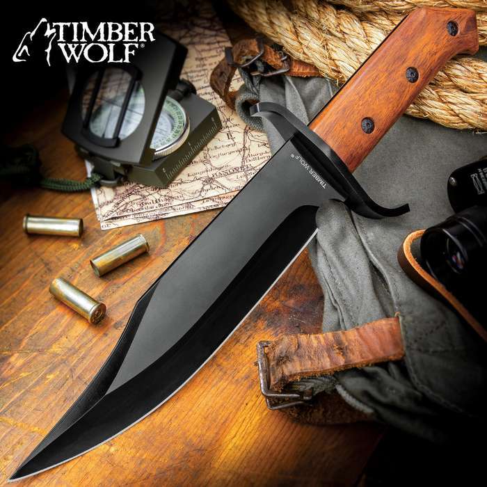 Timber Wolf ClaimStaker Bowie Knife And Sheath - 3Cr13 Stainless Steel Black Blade, Full-Tang, Wooden Handle - Length 12 1/2""