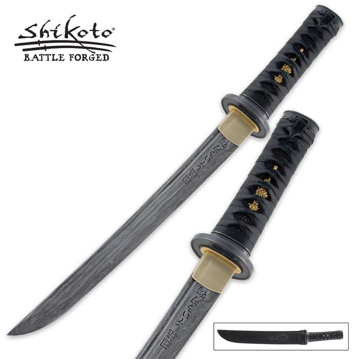 Shikoto Hand Forged Damascus Tanto Sword