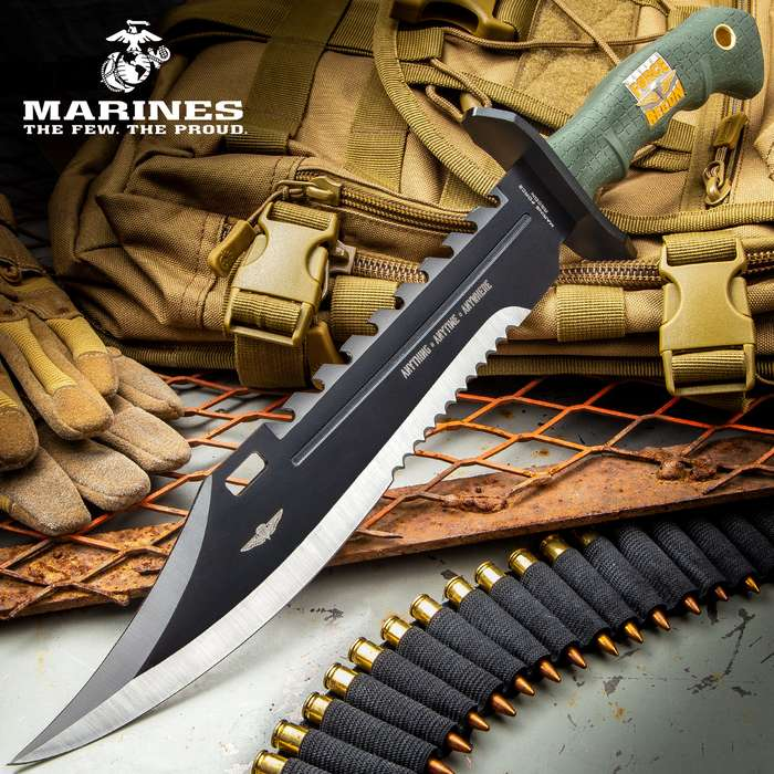 USMC Marine Recon Sawback Survival Giant Fixed Blade Bowie Knife - Durable Nylon Belt Sheath - Green Handle Black Blade Stainless Steel
