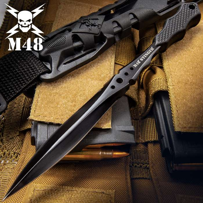M48 Stinger Urban Dagger Black With Harness Sheath