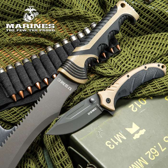 USMC Blood Brothers 2-Piece Knife Set - Barong Style Machete and Assisted Opening / Spring Assist Pocket Knife / Folder - Stainless Steel, Glass Breaker, Nylon Sheath - Tactical Survival Outdoors