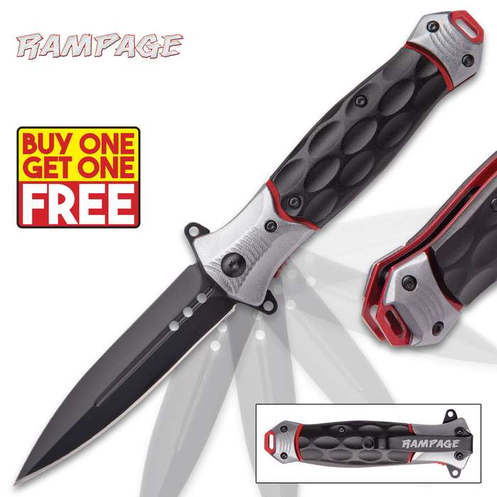 Rampage Bloodsport Stiletto Knife - Assisted Opening Folder / Pocket Knife - Anodized Stainless Steel - Aluminum Handle - Sleek Contemporary Style - Liner Lock, Blade Spur, Pocket Clip & More - BOGO