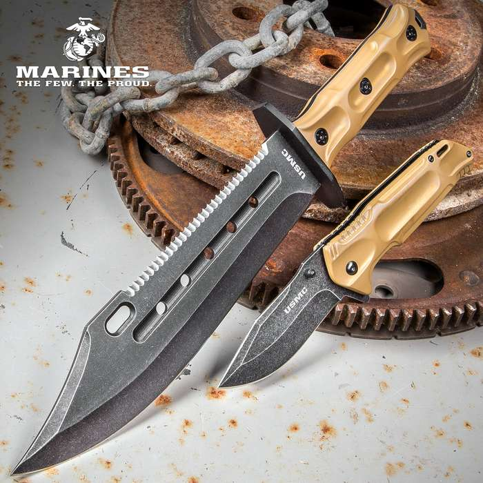 USMC Desert Pocket Knife and Bowie Knife Set With Sheath - Stainless Steel Blades, Non-Reflective Coating, Molded Polymer Handles