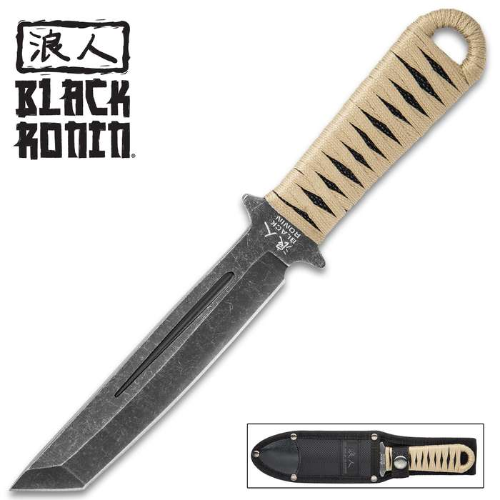 Black Ronin Tanto Boot Knife - Heavy Duty Nylon Sheath