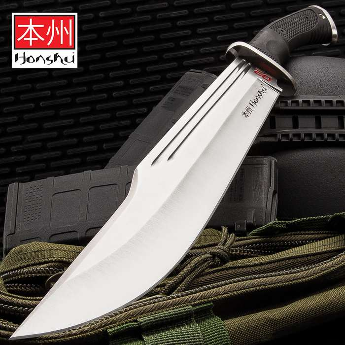 """Honshu D2 Conqueror Bowie Knife And Sheath - D2 Steel Blade, Grippy TPR Handle, Stainless Steel Guard - Length 16 1/2"""""""