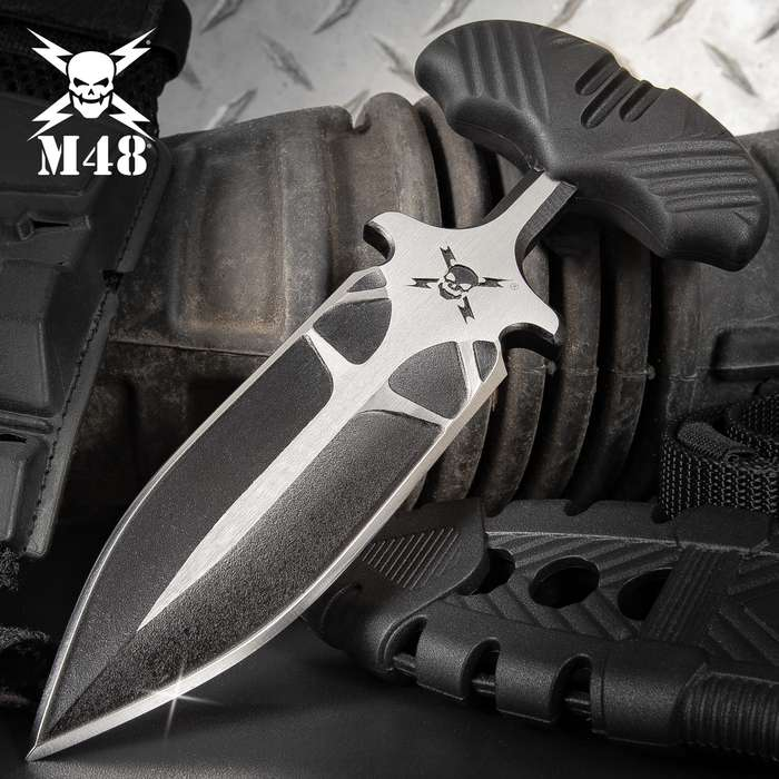M48 Fang I Tactical Push Dagger And Sheath - Cast Stainless Steel Blade, Black Oxide Coating, TPR Handle - Length 7 3/8""