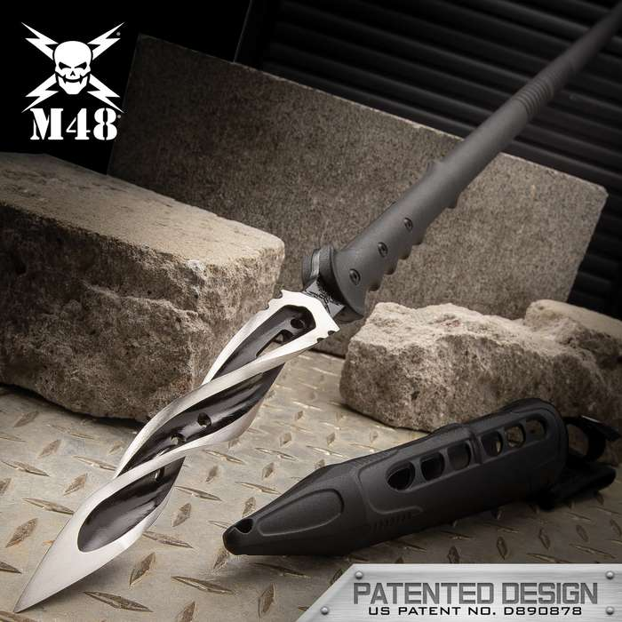 M48 Cyclone Spear With Vortec Sheath - Cast Stainless Steel Blade, Reinforced Nylon Handle - Length 48 7/8""