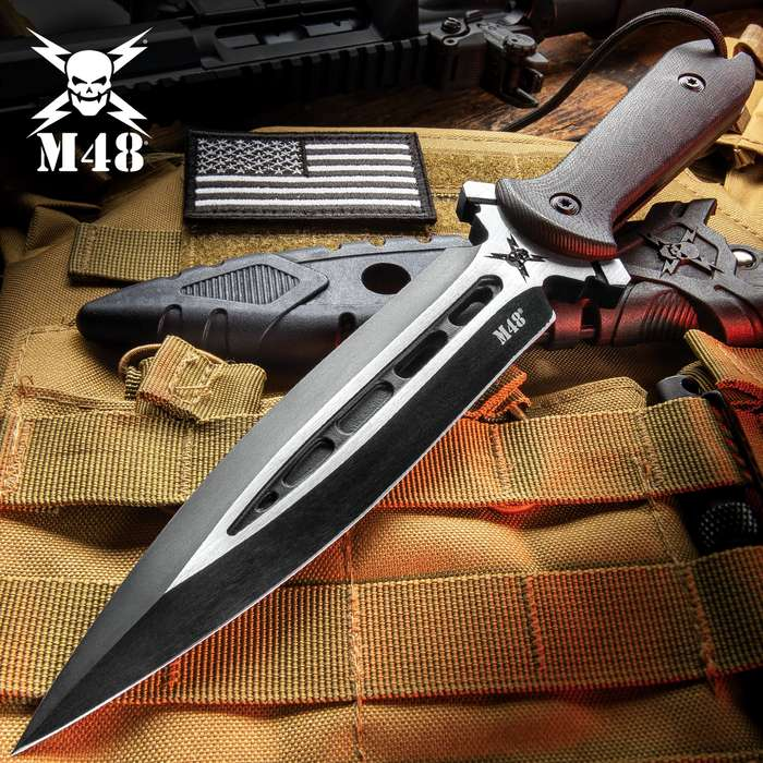 M48 Talon Dagger With Sheath - Cast Stainless Steel Blade, G10 Handle, Paracord Lanyard - Length 11 5/8""