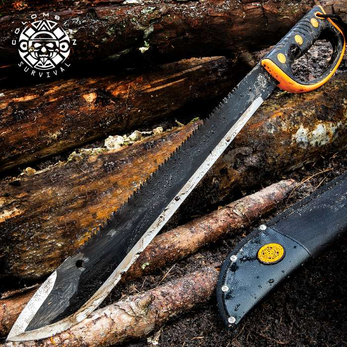 United Cutlery Colombian Rescuer Sawback Survival Machete - Stainless Steel Blade, Rubberized Molded Handle - Length 24""