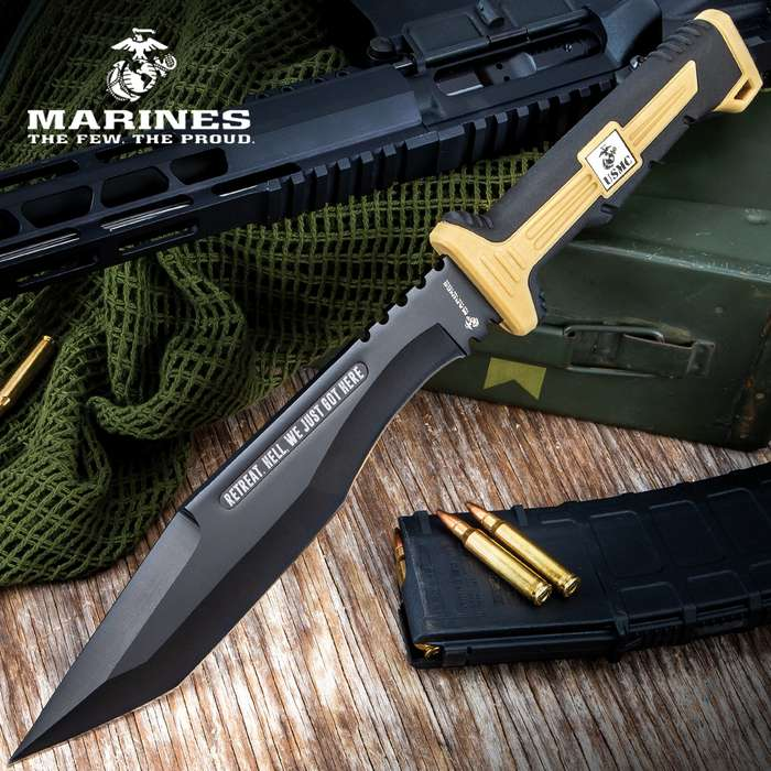 Scorching Sands Tanto Kukri Knife And Sheath - Stainless Steel Blade, Non-Reflective, TPU And TPR Handle, Lanyard Hole - Length 15 1/2""
