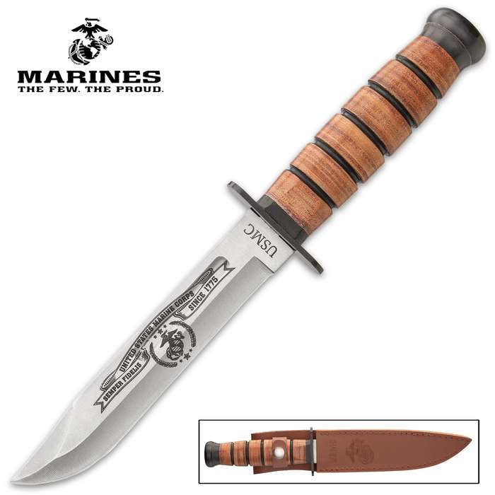 It pays homage to the United States Marines Corps incorporating the classic styling of the iconic knife carried by the Marines in WWI