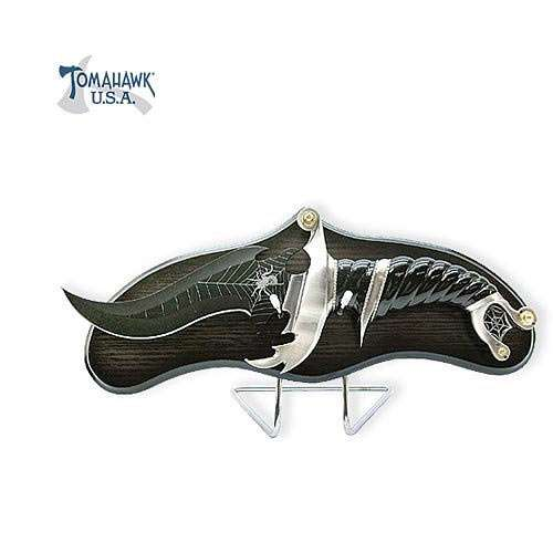 Spider Black Blade Fantasy Bowie Knife with Stand