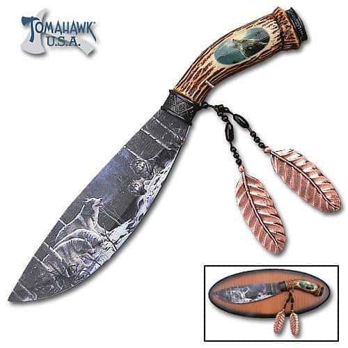 Custom Faux Bone Wolf Bowie Knife