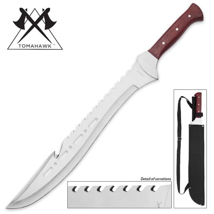 "Tomahawk Razorback Full Tang Machete With Nylon Shoulder Sheath - Genuine Heartwood Handle, Sawback Serrations - 21 1/4"" Length"