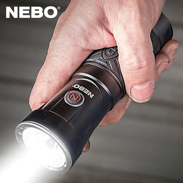 The Nebo Big Cryket Work Light is a versatile 3-in-1 LED light, featuring a unique, swivel design that allows the light's head to rotate into a forward-facing light