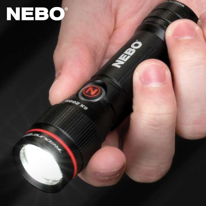 The NEBO Redline Flex Flashlight utilizes Flex-Power Technology, which allows the light to be powered by a single AA battery or a lithium-ion 14,500 rechargeable battery