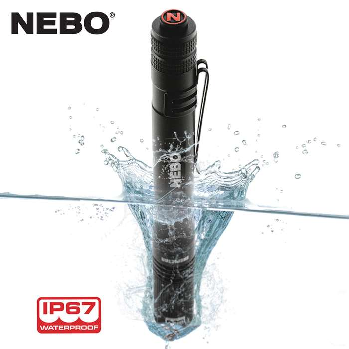 The NEBO Black Inspector Pocket Light is made of anodized aircraft-grade aluminum that is impact-resistant and waterproof and has 3x zoom