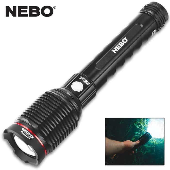 "Nebo Redline 6K Lumen Rechargeable Flashlight - COB Light, Four Modes, Aircraft Grade Aluminum Body, Waterproof - Length 10 1/2"""