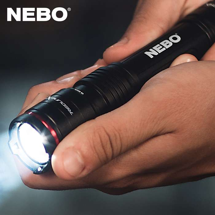 "NEBO Redline X Rechargeable Flashlight - Aircraft Grade Aluminum Body, Waterproof - Closed Length 5 4/5"", Extended Length 6 1/4"""