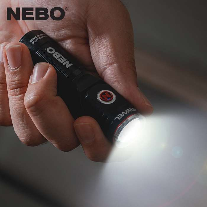 The NEBO Rechargeable Swyvel Flashlight is a versatile flashlight that features Smart Power Control, which smoothly transitions the five light modes