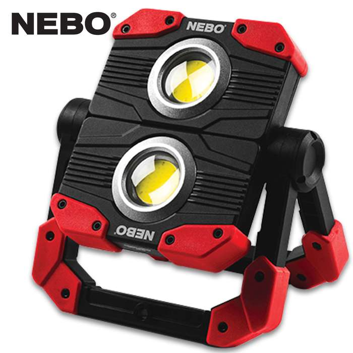 The NEBO Omni 2K Multi-Directional Work Light is the ultimate, omni-directional work light that boasts a powerful 2,000 lumen, Dual COB output with a red hazard feature